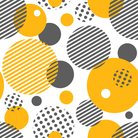 Illustration pour Geometric seamless pattern with circles, stripes, dots. Pattern for fashion and wallpaper. Vector illustration. - image libre de droit