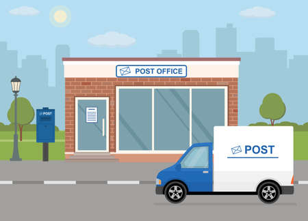 Illustration pour Post office building, delivery truck and mailbox on city background. Flat style, vector illustration. - image libre de droit