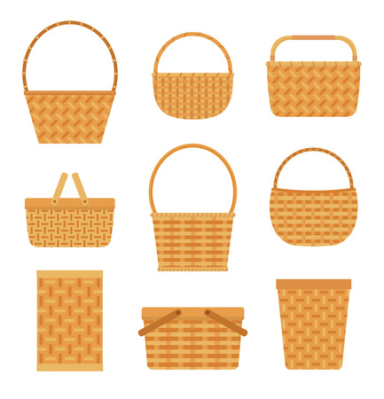 Illustration pour Collection of empty baskets, isolated on white background. Flat style vector illustration. - image libre de droit