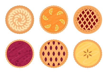 Illustration for Set of fruit pies. Isolated on white background. Vector illustration. - Royalty Free Image