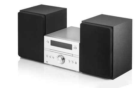 Photo for music center with two speakers on a white background - Royalty Free Image