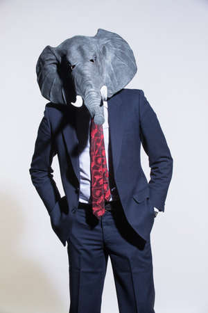 Foto de A man in a suit and an elephant mask on a light background. Conceptual business background - Imagen libre de derechos