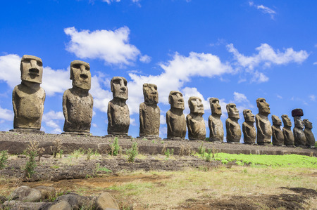 Foto de Moais of Ahu Tongariki, Easter island, Chile - Imagen libre de derechos