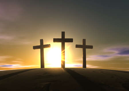 An impression of the three crosses on the mountain golgotha representing the day of christs crucifixion in a sunrise