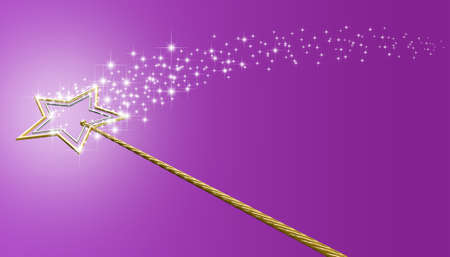 A concept showing a mythical magic wand made with gold and silver stars leaving behind a trail of magical sparkles on an isolated pink surface