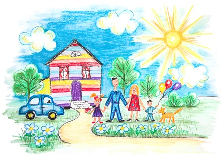 Ilustración de Vector Bright Childrens Sketch With Happy Family, House, Dog, Car on the Lawn with Flowers - Imagen libre de derechos