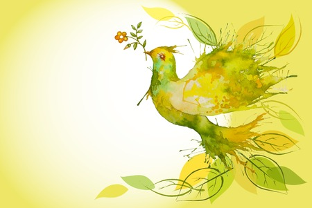 Ilustración de Watercolor Green Dove flying with flower branch and leaves  - Imagen libre de derechos