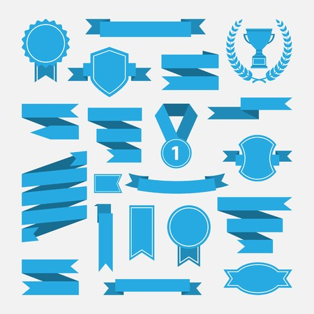 Illustration pour Blue ribbons,medal,award,cup set isolated on white background.Vector.Banner web - image libre de droit
