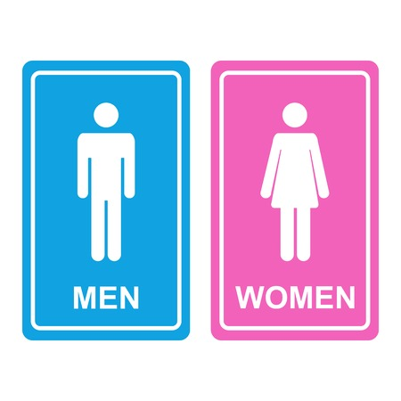 Ilustración de Male and female white WC icon denoting toilet and restroom facilities for both men and women with white male and female silhouetted figures on a blue and pink stickers - Imagen libre de derechos