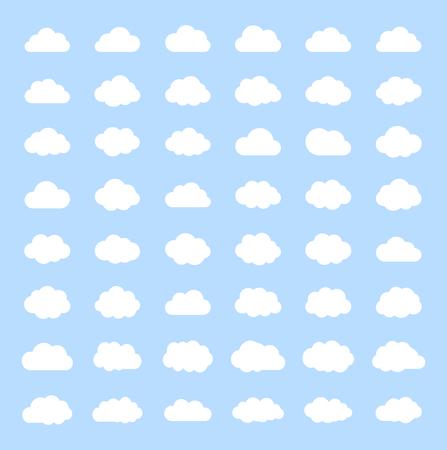 Illustration pour Big vector set white cloud shapes, cloud icons , cloud computing, Cloud on a blue sky.Good weather forecast.Flat style vector illustration. - image libre de droit