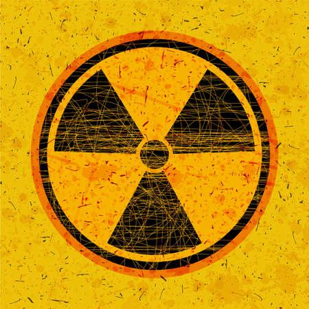 Ilustración de Radiation icon in circle on grunge background - Imagen libre de derechos