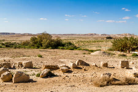 Landscape Makhtesh Gadol or Large Crater, nature reserve in Negev desert in the early spring, Israel