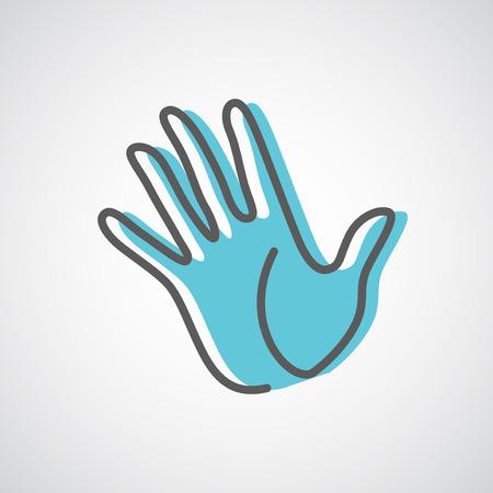 Illustration pour Helping hand silhouette vector design template. Five fingers hand creative concept icon. - image libre de droit