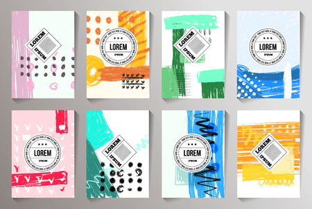 Illustration pour Set of Creative Cards backgrounds. Hand Drawn Hipster Textures for Posters, Flyers and Banner Designs and invite cards. - image libre de droit