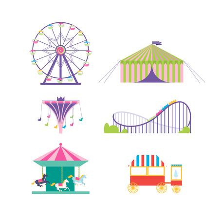 Illustration pour Amusement park vector set. Ferris wheel, roller coaster, popcorn, carousel, carousel with horses - image libre de droit