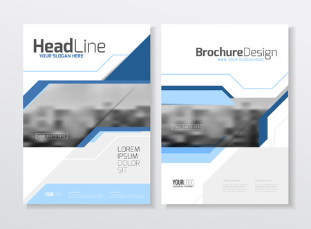 Illustration pour Business Brochure design. Annual report vector illustration template. A4 size corporate business catalogue cover. Business presentation with photo and geometric graphic elements. - image libre de droit