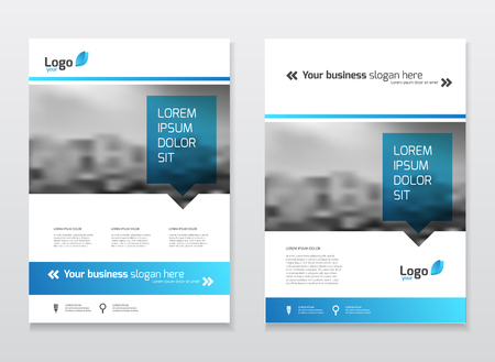 Illustration pour Catalogue cover design. Annual report vector illustration template. A4 size corporate business catalogue cover. Business presentation with map. Material design style. - image libre de droit