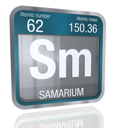 Foto de Samarium symbol in square shape with metallic border and transparent background with reflection on the floor. 3D render Element number 62 of the Periodic Table of the Elements - Chemistry - Imagen libre de derechos