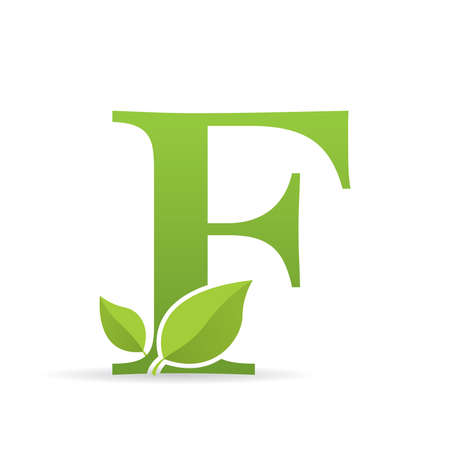 Ilustración de Logo with letter F of green color decorated with green leaves - Vector image - Imagen libre de derechos