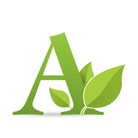 Ilustración de Logo with letter A of green color decorated with green leaves - Vector image - Imagen libre de derechos