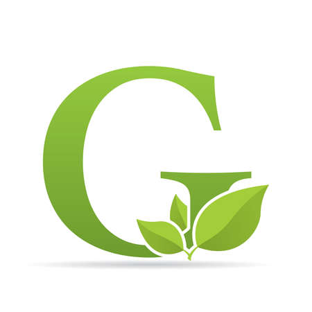 Ilustración de Logo with letter G of green color decorated with green leaves - Vector image - Imagen libre de derechos