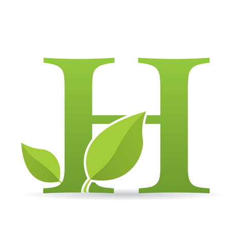 Ilustración de Logo with letter H of green color decorated with green leaves - Vector image - Imagen libre de derechos