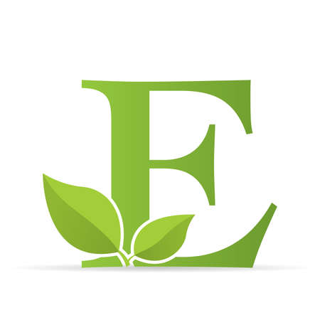 Ilustración de Logo with letter E of green color decorated with green leaves - Vector image - Imagen libre de derechos