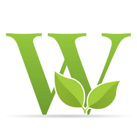 Ilustración de Logo with letter W of green color decorated with green leaves - Vector image - Imagen libre de derechos