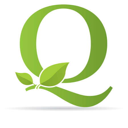 Ilustración de Logo with letter Q of green color decorated with green leaves - Vector image - Imagen libre de derechos