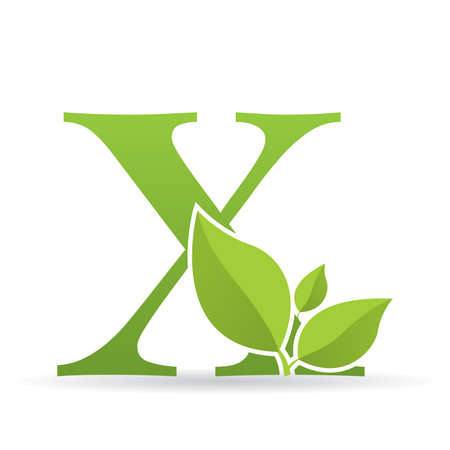 Ilustración de Logo with letter X of green color decorated with green leaves - Vector image - Imagen libre de derechos