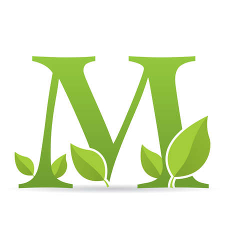 Ilustración de Logo with letter M of green color decorated with green leaves - Vector image - Imagen libre de derechos