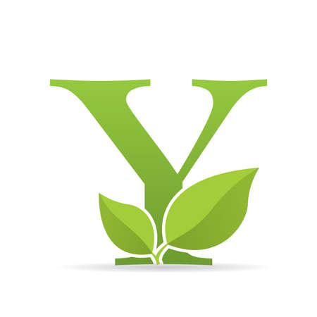 Ilustración de Logo with letter Y of green color decorated with green leaves - Vector image - Imagen libre de derechos