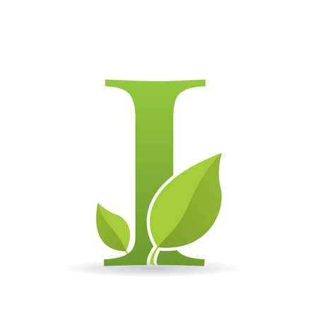 Ilustración de Logo with letter I of green color decorated with green leaves - Vector image - Imagen libre de derechos
