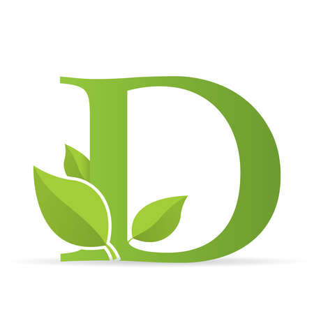 Illustration for Logo with letter D of green color decorated with green leaves - Vector image - Royalty Free Image