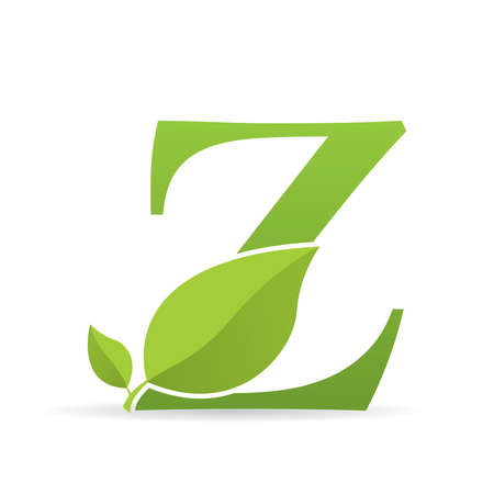 Ilustración de Logo with letter Z of green color decorated with green leaves - Vector image - Imagen libre de derechos