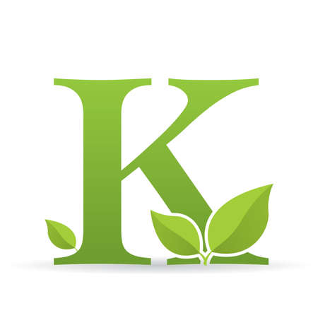 Ilustración de Logo with letter K of green color decorated with green leaves - Vector image - Imagen libre de derechos