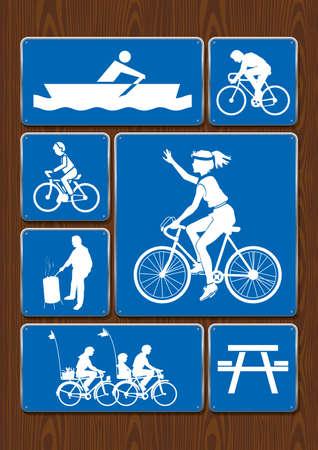 Ilustración de Set icons of rowing boat, family ride, bicycle, roasting area. Icons in blue color on wooden background. Vector image. - Imagen libre de derechos