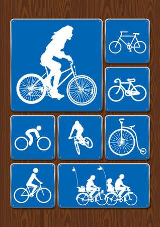 Ilustración de Outdoor activity icons set: woman on bicycle, cycling, family on walk, old bicycle. Icons in blue color on wooden background. Vector image. - Imagen libre de derechos
