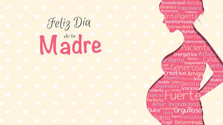 Ilustración de Happy Mother's Day - Happy Mother's Day in Spanish language - greeting card. Pink silhouette of pregnant woman with a cloud of words inside on a yellow background with hearts. With space to place text. Vector illustration - Imagen libre de derechos
