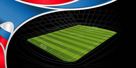 Abstract background of white, blue and red color with the drawing of a stadium with green soccer field on black in the background. Wide size. Vector image