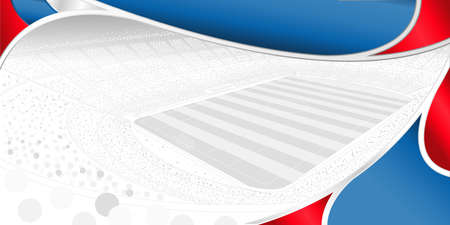 Abstract background of white, blue and red color with the drawing of a football stadium full of people in gray tones on white in the background. Wide size. Vector image