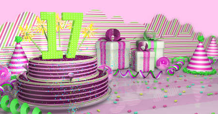 Foto de Purple round 17 birthday cake decorated with colorful sparks and pink lines on a bright table with green streamers, party hats and gift boxes with pink ribbons and candies on the table, on a pink background. 3D Illustration - Imagen libre de derechos