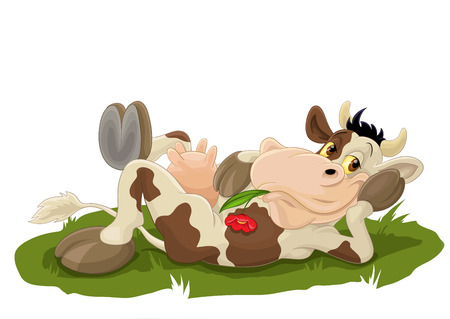 Illustrazione per Relaxing cow on grass Vector illustration isolated on white background. - Immagini Royalty Free