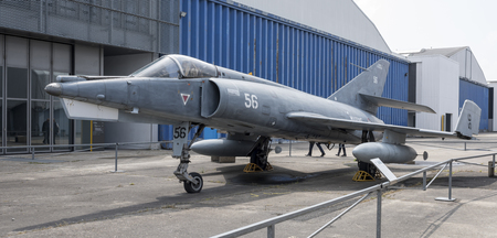 Foto de Le Bourget, Paris, France- May 04,2017: Dassault Etendard IVM(1956) in the Museum of Astronautics and Aviation Le Bourget - Imagen libre de derechos