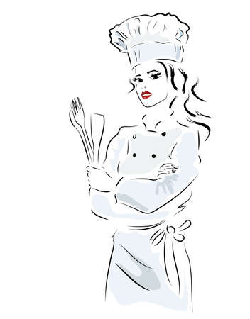 Chef. Woman in cooker uniform with fork and spoon