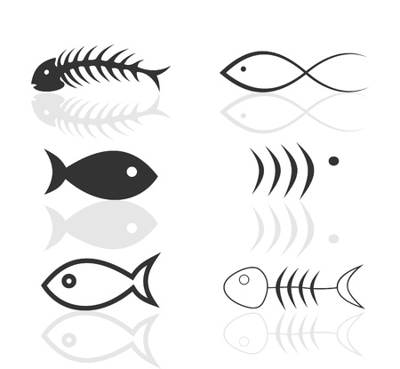 Set of icons on a theme fish. A vector illustration