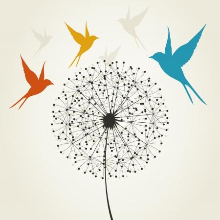 Illustration pour Birds fly round a dandelion. A vector illustration - image libre de droit