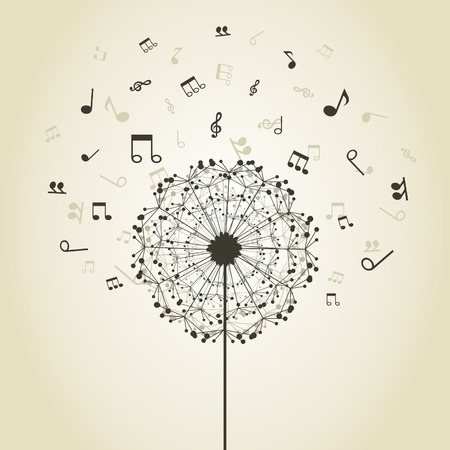 Illustration for Musical notes around a flower a dandelion - Royalty Free Image