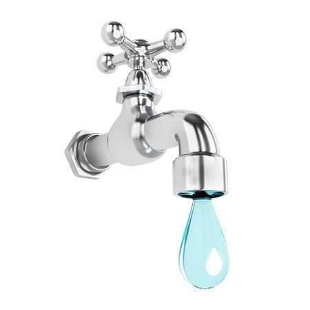 Foto de Dripping tap with drop - Imagen libre de derechos