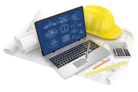Foto de Designing of project  Draws and laptop - Imagen libre de derechos